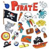 标志艺术集合儿童幼儿园孩子儿童绘画风格例证的Picutre海盗党与海盗,鲨鱼, 库存例证