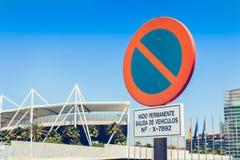 标志表明对停车处的一个永久禁令 库存图片
