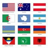 标志设置了世界 信件A名字国家  向量 向量例证