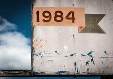 1984标志,在点宜人的海滩,新泽西 免版税图库摄影