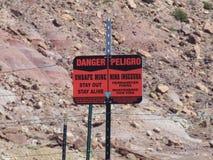 标志:不安全的矿 图库摄影