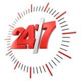 24/7标志(包括的裁减路线) 免版税库存图片
