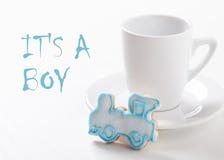 标志-母亲等待的婴孩-男孩 免版税库存照片