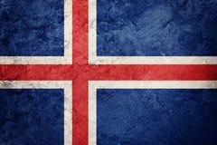 标志grunge冰岛 与难看的东西纹理的冰岛旗子 库存照片