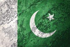 标志grunge巴基斯坦 与难看的东西纹理的巴基斯坦旗子 库存照片