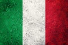 标志grunge意大利 与难看的东西纹理的意大利旗子 图库摄影