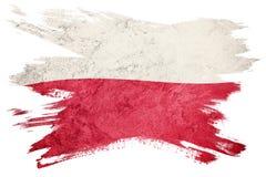 标志grunge波兰 与难看的东西纹理的波兰旗子 刷子strok 免版税库存图片
