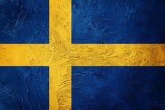 标志grunge瑞典 与难看的东西纹理的瑞典旗子 免版税库存照片