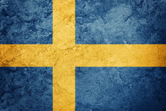标志grunge瑞典 与难看的东西纹理的瑞典旗子 免版税库存图片