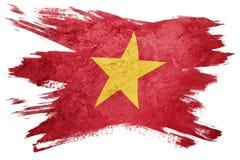 标志grunge越南 与难看的东西纹理的越南旗子 刷子str 库存图片