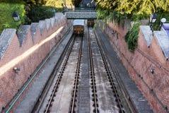 1870标日期的布达佩斯城堡小山缆索铁路在布达佩斯 库存图片