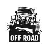 标签、象征、徽章或者商标的路suv汽车单色模板 免版税库存照片
