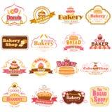 标签和徽章新鲜的面包店产品的 库存例证