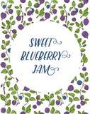 标签或卡片的蓝莓背景 库存照片