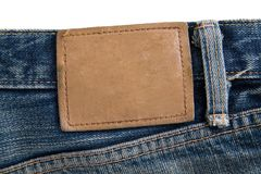 标签牛仔裤 免版税库存照片