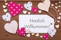 标签,桃红色心脏,文本Herzlich Willkommen手段欢迎 库存图片