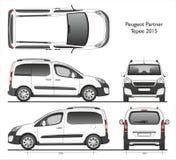 标致汽车伙伴圆锥形帐蓬2015商务搬运车 库存例证