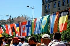 标记世界 享受自由旗子图片的范围从不同的国家的 库存图片