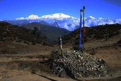 标记印度kanchenjunga东北祷告 免版税库存照片
