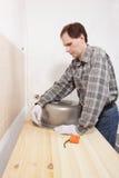 标记厨房水槽的一个漏洞 免版税库存照片