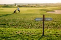 标记在高尔夫球场的孔 免版税库存图片