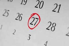 标记日期数27 免版税库存图片
