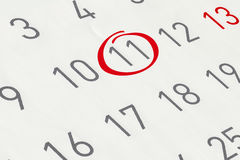标记日期数11 免版税库存照片