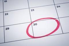 标记月,通知日历提示的结束 库存照片