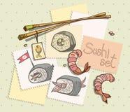 标记用在绿色背景设置的寿司 免版税库存照片