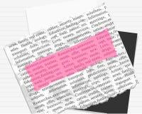标记纸桃红色文本 免版税图库摄影