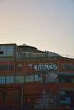 标记:在黄昏的畸形人在一个被放弃的大厦 库存照片