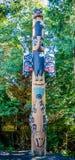 标识杆在Saxman当地村庄在Ketchikan 免版税库存图片