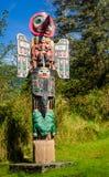 标识杆在Saxman当地村庄在Ketchikan 免版税库存照片