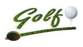 标题草文本高尔夫球和球 免版税图库摄影