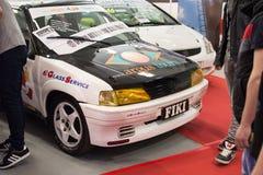 标致汽车106在贝尔格莱德车展的集会汽车正面图  免版税库存照片