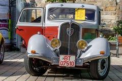 标致汽车301 D 1932年- 20世纪30年代的经典运动的敞篷车 免版税库存图片