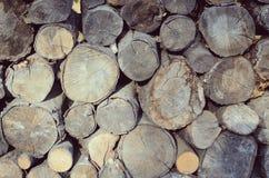 栈日志 很多cuted分支和树干自然木背景 免版税库存图片
