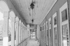 栈桥在冬天 库存图片