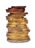 栈欧洲硬币 库存照片