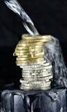 栈欧洲硬币 库存图片