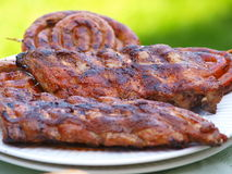 栈烤肉猪肉排骨 库存照片