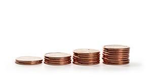 栈硬币 概念查出的货币白色 库存图片