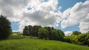 树、小山和云彩 一些反弹严格晴朗那里不是的蓝色云彩日由于域重点充分的绿色横向小的移动工厂显示天空是麦子白色风 免版税库存图片