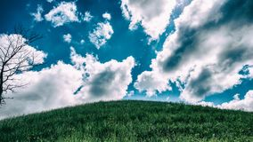 树、小山和云彩 一些反弹严格晴朗那里不是的蓝色云彩日由于域重点充分的绿色横向小的移动工厂显示天空是麦子白色风 库存图片