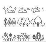 树、花和天空Countour黑白色集合 免版税图库摄影