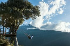 树上小屋在Banos De Aqua圣诞老人,厄瓜多尔,南美 免版税库存图片