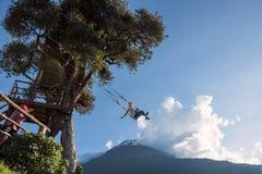 树上小屋在Banos De Aqua圣诞老人,厄瓜多尔 免版税库存图片