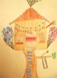 树上小屋的儿童绘画 免版税库存照片