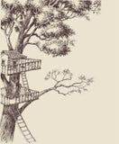 树上小屋背景 库存例证