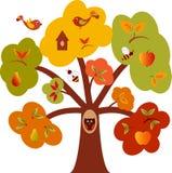 树上小屋,秋天树,树例证 库存照片